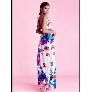 Eliza J Floral-Print Halter-Neck Maxi Dress